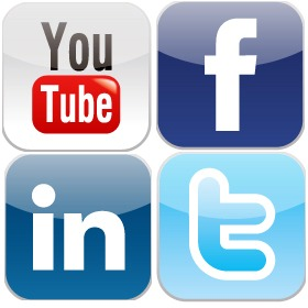 YouTube, Facebook, LinkedIn, and Twitter logos