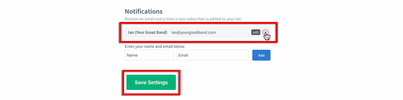 email marketing for musicians notification